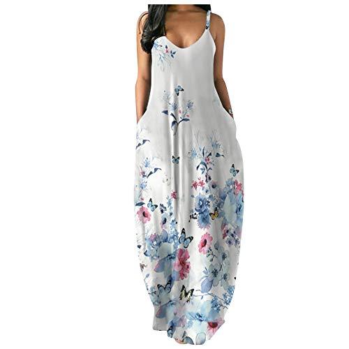 Vestido Largo para Mujer con Bolsillo s- 5XL Tallas Grandes Negra Mariposa Floral Verano 2021 Tirantes Cuello en V Sexy Maxi Vestido de Playa Fiesta