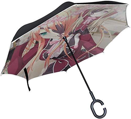 Mädchen Shinigami Keine Blonde Bandage Puppe Lächeln Umgekehrter Regenschirm Großer Doppelschicht Outdoor Regen Sonne Auto Wendbarer Regenschirm