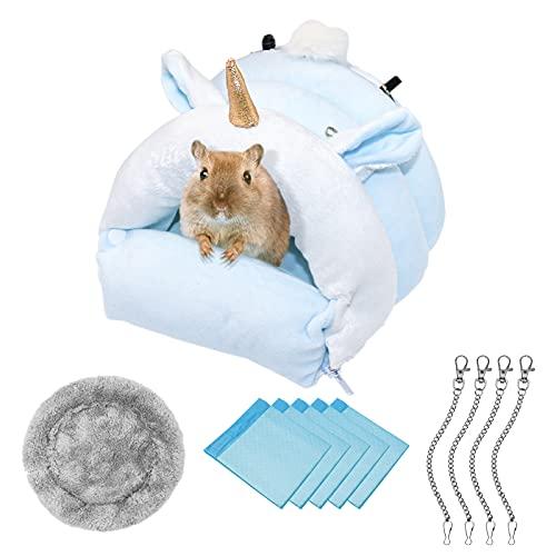 Hamster casa/cama colgante / jaula de algodón, nido para dormir, cama de unicornio, juguete para animales pequeños, jaula, cama nido, accesorio para hámster enano, jerbos, chinchillas, ardillas (M)