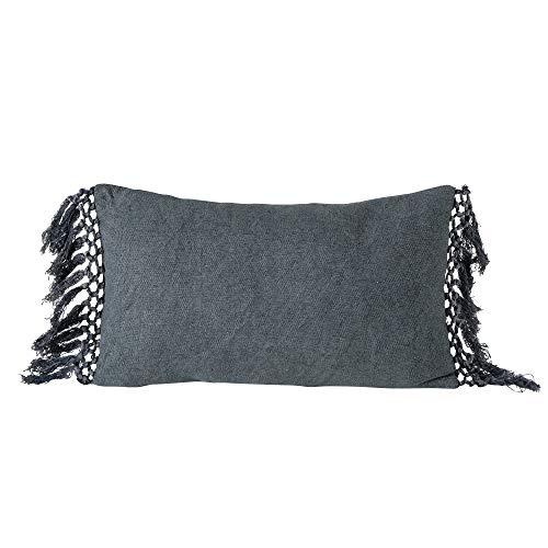 Boltze Linou - Cojín rectangular de algodón gris, 50 x 30 cm, con flecos, decoración para el salón