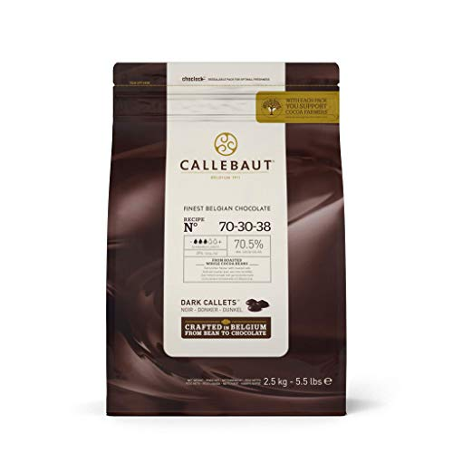 CALLEBAUT Receipe No. 70-30-38 - Kuvertüre Callets, Zartbitterschokolade, 70,5% Kakao, 2,5 kg - 1er Pack