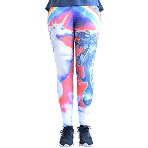 cosey - Leggings Coloridos Impresos (Talla única) - Design Unicornio/T-Rex