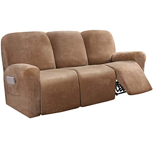 FantasDecor Ultra Thick Velvet 8 Piece Recliner Sofa Covers for 3 Cushion Couch Covers for 3 Seat Reclining Couchs Covers Furniture Covers for Reclining Sofa Feature Individual Back, Luggage