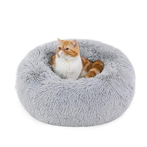 Bedsure Cuccia Gatto Morbida 50x50cm - Cuccia Pelosa per Cani Colore Grigio Chiaro, Cuscino Gatto Antistresss con Peluche Lavabile, Lettino Calmante per Gatti