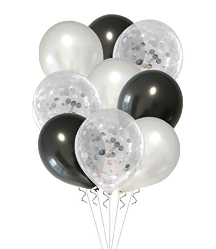 Almate Schwarz und Weiß Luftballons Set, Latex farbige Ballons, Konfetti, Metallic Ballons, für Party dekorative Ballons, Geburtstag Hochzeit Engagement Baby dusche (50 pcs Pack)