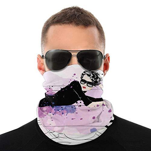 Mädchen mit Sonnenbrille auf Couch liegend Katze Elegance In Home Thema mit Flecken Bandana Gesichtsmaske Staubdicht Winddicht Warm Variety Kopftuch Sturmhaube für Damen Herren