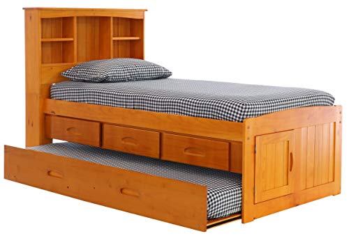 Discovery World Furniture Twin Bookcase Captains Bed with 3 Drawers and Twin Trundle, Honey