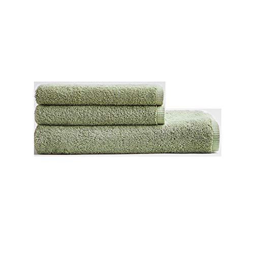 NAFE Conjuntos Toalla de baño, 100% algodón Toallas de baño Set 3 Piezas para baño de Lujo, Altamente Absorbente Hotel SPA Gimnasio, Toallas de baño 1 2 Toallas de Mano Green