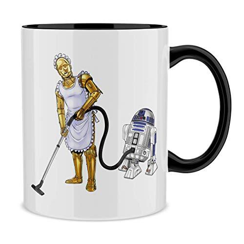 OKIWOKI Taza con asa Negra e Interior Negro Parodia de Star Wars- R2-D2 y C-3PO (Taza de Primera Calidad - Impresa en Francia - Réf : 642)