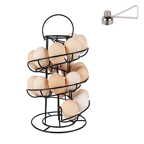 Upgrade Steday Base Egg Skelter with Egg Opener, Double Stable Base Metal Iron Modern Spiral Design Egg Dispenser Drying Rack, for Kitchen Egg Holder Storage Organizer - Black