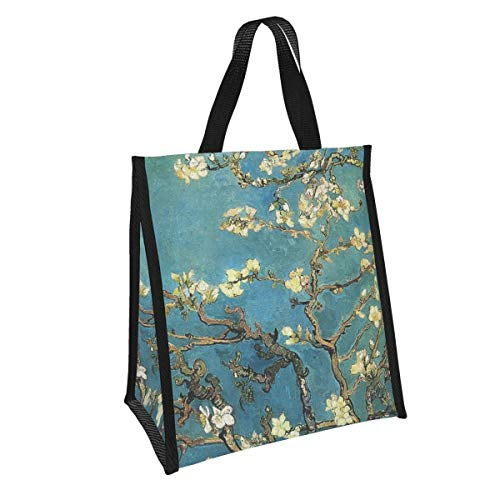 Bolsa de almuerzo reutilizable Vincent Van Gogh floreciente Almendro Almendro Almuerzo Organizador impermeable aislado Enfriador Adulto Estudiantes Trabajo Picnic al aire libre Almuerzo Bolsa de asas