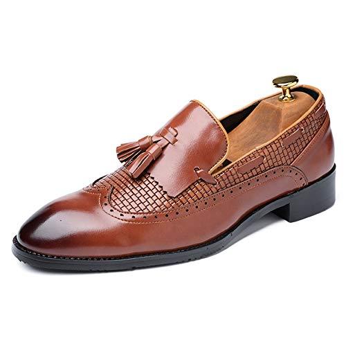 Best-choise Zapatos Oxford de Vestir for Hombre Mocasines Brogue Zapato de Vestir con Borla Delantera Slip On PU Cuero Punta Puntiaguda Estilo bruñido Antideslizante Llamativo