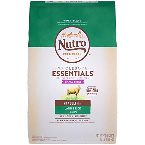 NUTRO WHOLESOME ESSENTIALS Adult Small Bites Natural Dry Dog Food Small Kibble Lamb & Rice Recipe, 15 lb. Bag