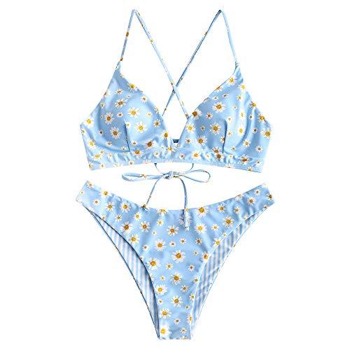 ZAFUL Damen Floral Spaghetti-Träger Lace Up Bikini Set Badeanzug L