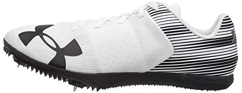 Under Armour Men's Kick Distance Spike Running Shoe, White (102)/Black, 12