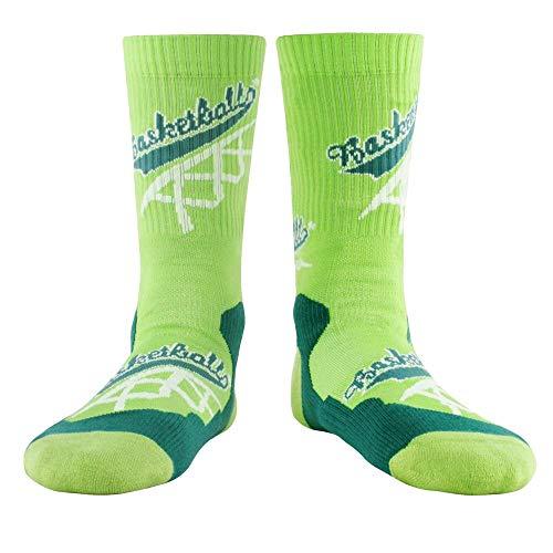WZDSNDQDY Calcetines de algodón para Hombres, Transpirables y desodorantes, Calcetines Deportivos de Tubo Mediano, Estampado de Letras Verdes, Hip Hop Street, Calcetines de Baloncesto