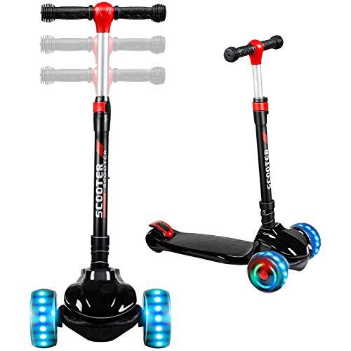 TX Roller Kinder Scooter | Kinderroller | Kinderscooter | Scooter Kinder mit 3 PU LED Leuchtenden Räder,Höhenverstellbar und faltbarem Lenker Kinder Roller für ab 2-12 Jahre Jungen und Mädche-Schwarz