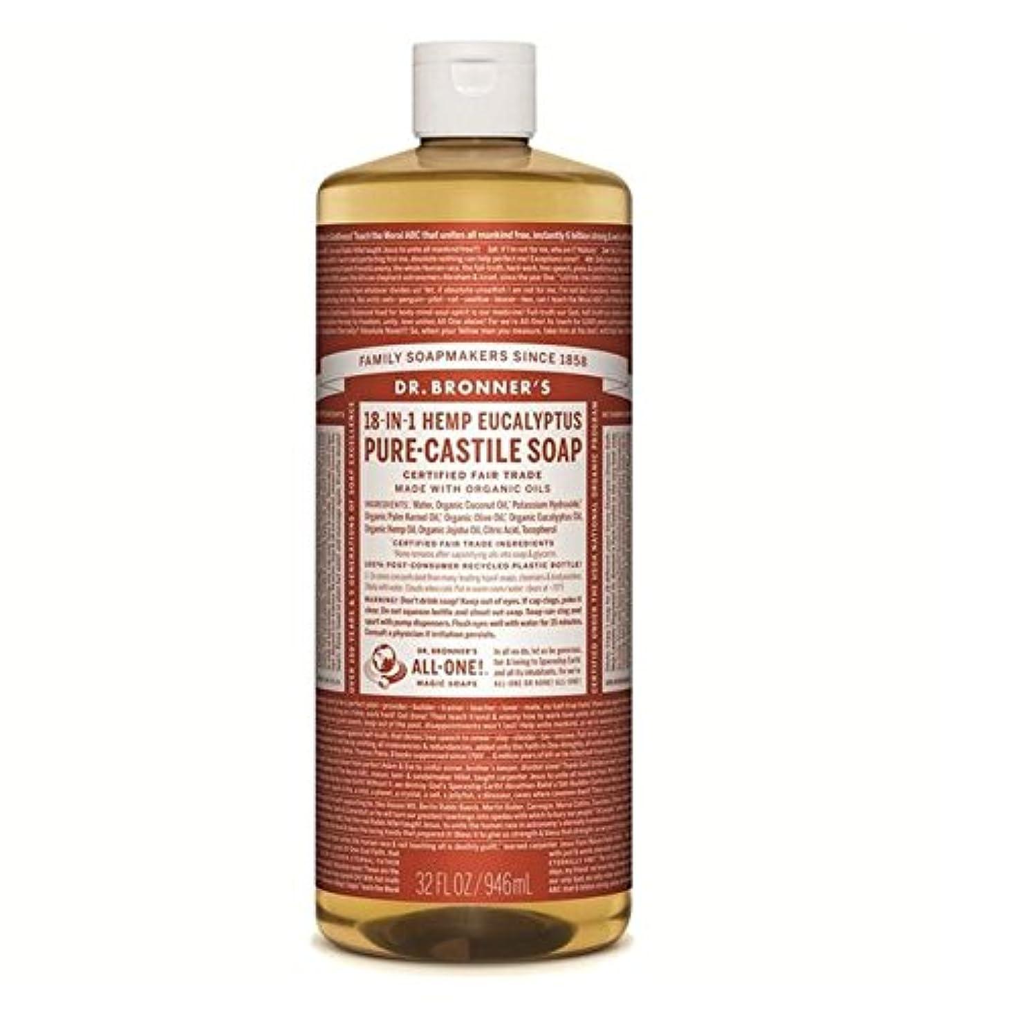 乞食適用する幸運なのブロナー有機ユーカリカスティーリャ液体石鹸946ミリリットル x4 - Dr Bronner Organic Eucalyptus Castile Liquid Soap 946ml (Pack of 4) [並行輸入品]