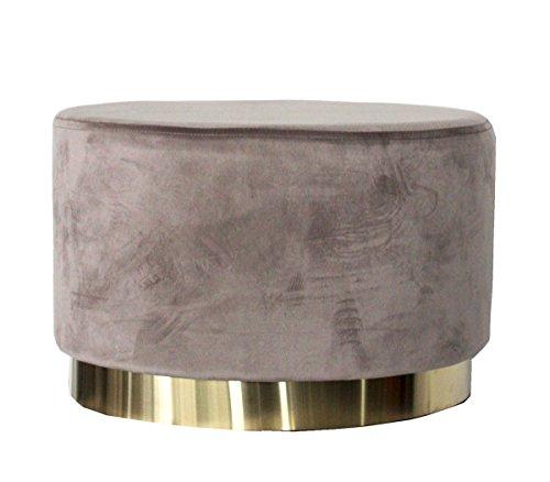 Keyhome Pouf Ovale Color Cipria per Soggiorno in Elegante Velluto Linea Soft - 35x53x35 cm
