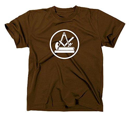 Tischler Schreiner Handwerk Zunft Logo T-Shirt, XL, braun