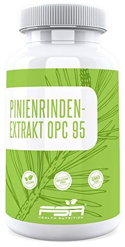 Pinienrindenextrakt 95% OPC, Vergleichssieger 2019*, 450 mg pro Kapsel, 95% Proanthocyanidine, 90 Kapseln, Vegan - Made in Germany - FSA Nutrition