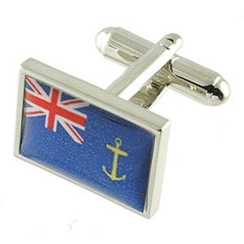 Paire Boutons de manchette Motif Royal auxiliaires de la Flotte avec étui Noir