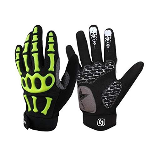 Rungear Cycling Gloves Bike Bicycle Gloves - Breathable Gel Pad Shock-Absorbing Anti-Slip - Outdoor MTB DH Road Moutain Touch Recognition Full Finger Gloves for Men Women (Black/Green, Large)