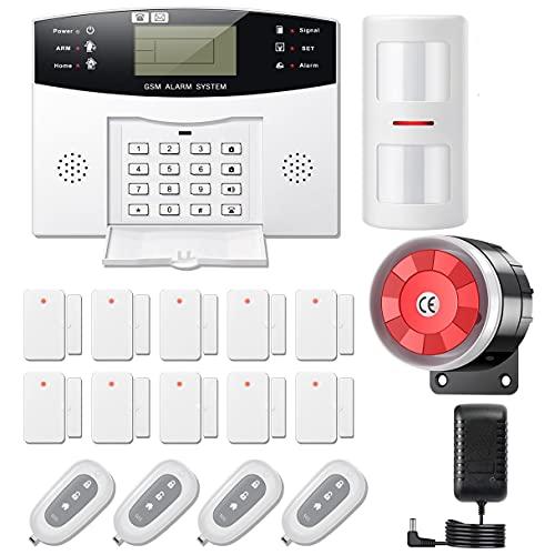 YISEELE Sistema di Allarme Casa Senza Fili, 18 Pezzi GSM SMS Sistema Antifurto Completo con Sirena Allarme 120dB, Telecomando Intelligente, Display LCD, Invite vocale, Sicurezza per la casa, ufficio