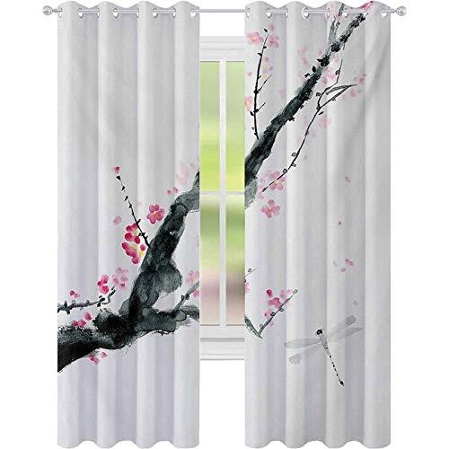 Cortinas opacas, rama de un rosa cerezo flor de Sakura Tree Bud and A Dragonfly Dramatic Artisan, W52 x L72 Panel de ventana para dormitorio, color rosa y negro