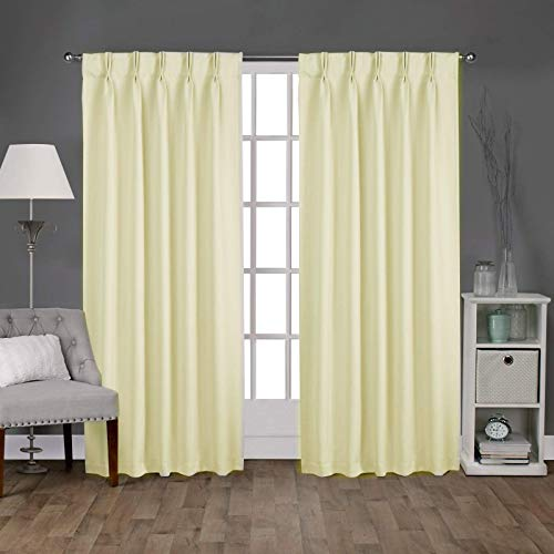 Double Pinch Pleated Blackout Window Curtain Panel & Drapes with Thermal Insulation (2 Panels, Ivory, 52 Inch by 63 Inch)