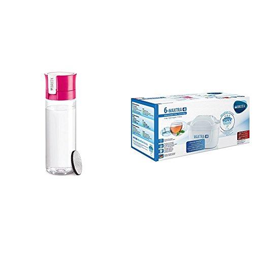 Brita - Botella Fill & GO con filtro, 0,6 L color rosa + Filtro MAXTRA+ 100 l, paquete de 6 meses