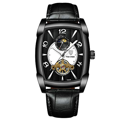 Reloj ZHANGZZ Reloj de Gama Alta, Reloj mecánico automático de Hombres TEVISE / T802B Reloj de Cuero Masculino de Lunares tourbillon de Fase
