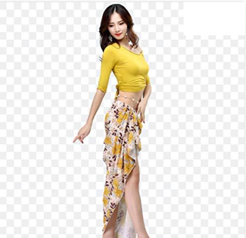 ZYLL Traje de impresión Competencia de Baile de Las Nuevas Mujeres de Danza del Vientre Danza Oriental Conjunto Top + Skirt Gypsy 2pcs de la Falda de Vestuario,Amarillo,XL