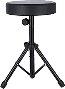 xuliyme Universal Drum Throne,Adjustable Padded Drum Seat Rotatable Height drumming Stools with Anti-Slip Feet for Kids&Adult Black(Black)