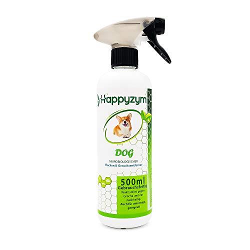 Happyzym - Geruchs und Fleckenentferner - Mikrobiologischer Enzymreiniger für Tierische Gerüche gegen Hundeurin und KOT Rückstände gebrauchsfertig 500ml