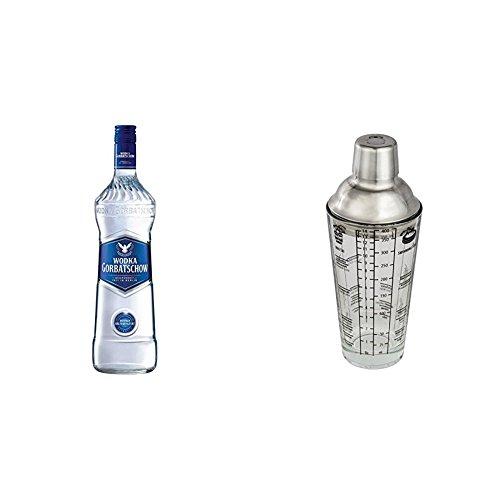 Gorbatschow Wodka (3 x 0.7 l) mit Cocktail Shaker aus Glas (mit Edelstahl Aufsatz und Cocktailrezepten)
