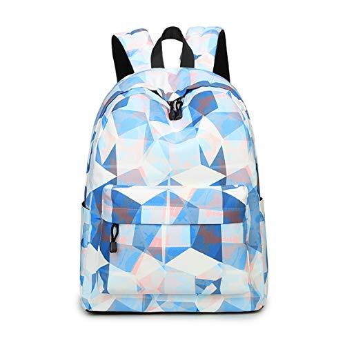 Joymoze Modischer Freizeitrucksack für Mädchen Jugendliche Schulrucksack Frauen Aufdruck Rucksack Geldbeutel Blau und weiß 851
