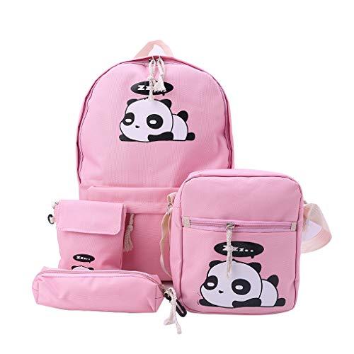 Yushu Mochila para mujer, 4 unidades, diseño de panda con estampado de mochila de viaje, mochila de hombro, mochila para niños, guardería, lindo animal, mochila escolar para niñas y niños