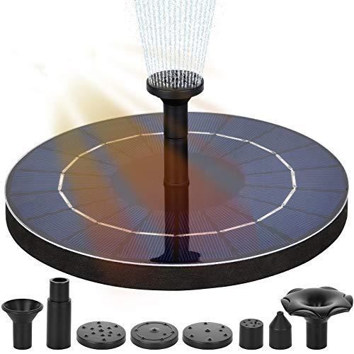 Fuente solar, bomba de agua solar circular de 3,5 W, fuente de jardín con batería recargable, 6 boquillas, para baño para pájaros, acuarios, estanques o decoración del jardín