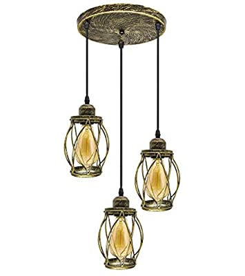 3-Light Industrial Pendant Lights, Hanging Light Fixtures for Kicthen, Hanging Farmhouse Lights with Bronze Metal Cage E26 E27 Base, Hanging Ceiling Light for Dining Room, Hallway