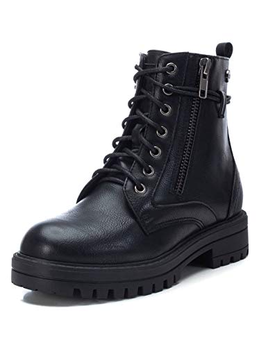 XTI - Botín Militar para Niña - Cierre con Cremallera - Color Negro - Talla 33