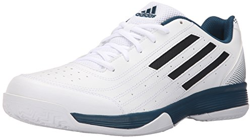adidas Men's Sonic Attack Tennis Shoes, White/Black/Mineral Blue, 10 M US