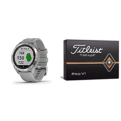 Garmin Approach S40, Stylish GPS Golf Smartwatch, Lightweight with Touchscreen Display, Gray/Stainless Steel & Titleist Pro V1 Golf Balls, White, Standard Play Numbers (1-4), One Dozen