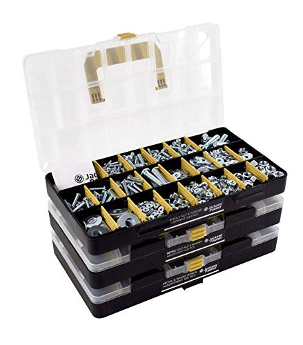 JACKSON PALMER 1,700 Piece Hardware Assortment Kit with Screws, Nuts, Bolts & Washers (3 Trays)