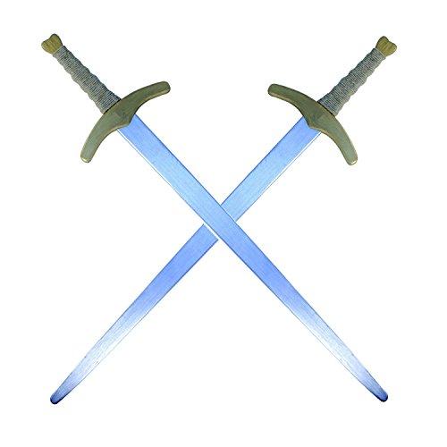 BestSaller Ritter Zweihand Schwert, Holz, Farbe:Silber / Gold (2 Stück)