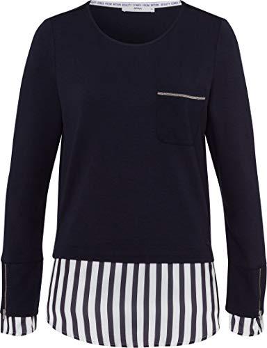 BRAX Damen Style Collene Blusensaum Sweatshirt, Navy, 42