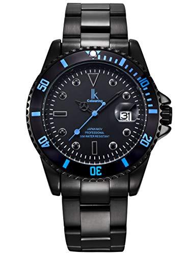 Alienwork Herren Damen Armbanduhr Quarz schwarz mit Edelstahl Metallarmband Kalender Datum elegant