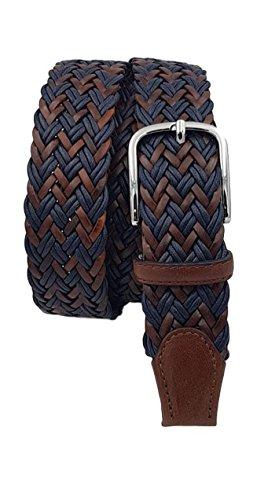 ESPERANTO Cintura intrecciata uomo donna con treccia cotone e cuoio, puntali vera pelle e fibbia nichel free anallergica 3,5 cm (Blu-Marrone, Tg 52- LUNG TOTALE 120 CM-GIROVITA 105 CM)