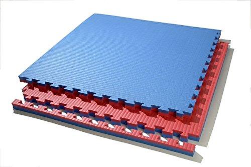 Suelo tatami puzzle grosor 4 cm. plancha de 1 m x 1 m. borde liso (desmontable) (rojo/azul)