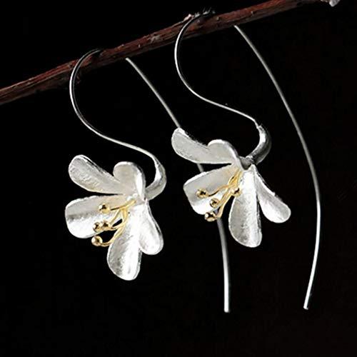ENDFF Aretes Sterling Silver Nueva Joyería Mujer Moda Hecho A Mano Artesanía Pendientes Pop Pendientes Exquisitos Flores Pendientes Largos De Moda